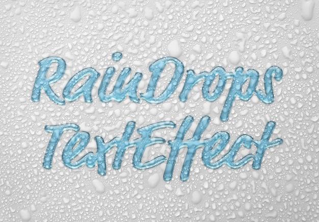 Gocce di pioggia effetto testo mockup