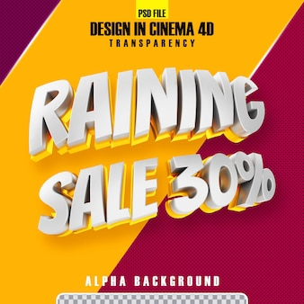 Piove vendita 30 oro 3d rendering isolato