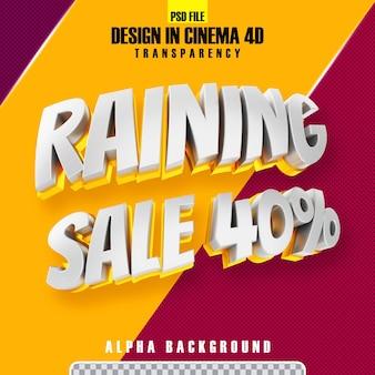 Piove vendita 40 oro 3d rendering isolato