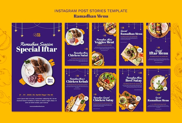 Storie di instagram del menu ramadahn