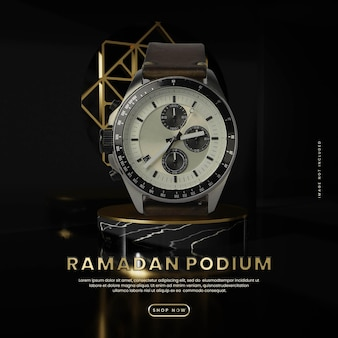 Piazza del podio in marmo e oro nero ramadan Psd Premium
