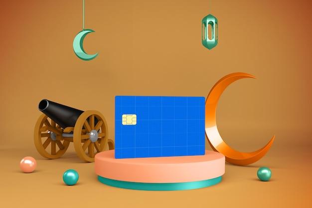 Mockup di carta di credito del ramadan