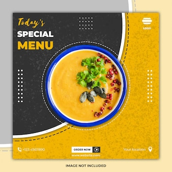 Post di social media di ramadan cibo banner modelli