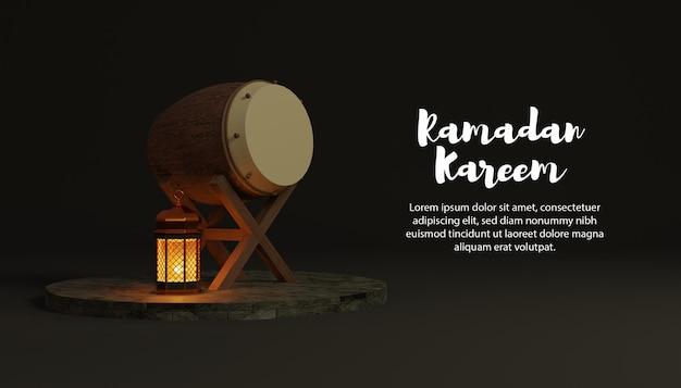 Sfondo 3d ramadan kareem con bedug e lampada sul podio