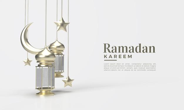 Il ramadan kareem 3d rende con l'illustrazione della lampada e del contenitore della luna