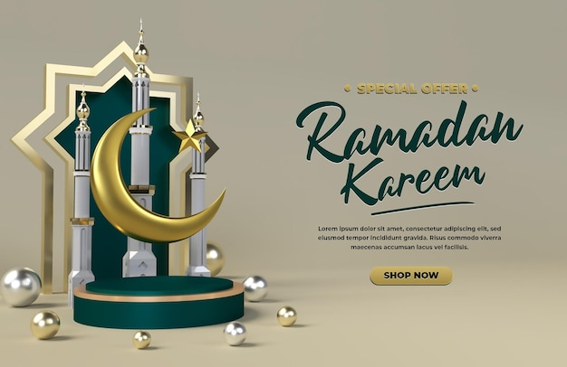 Ramadan kareem 3d vendita promozione sconto festa islamica eid celebrazione rendering