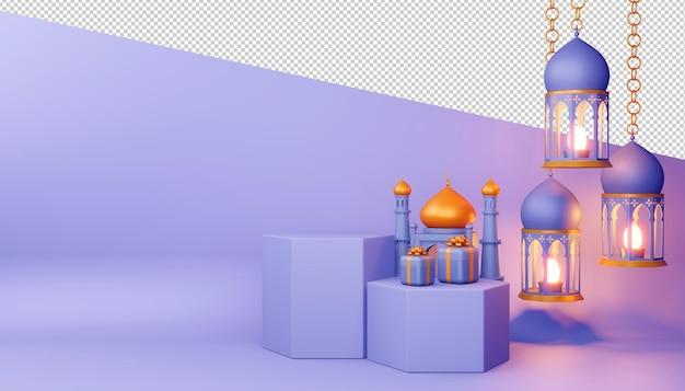 Sfondo di ramadan kareem, rendering 3d. Psd Premium