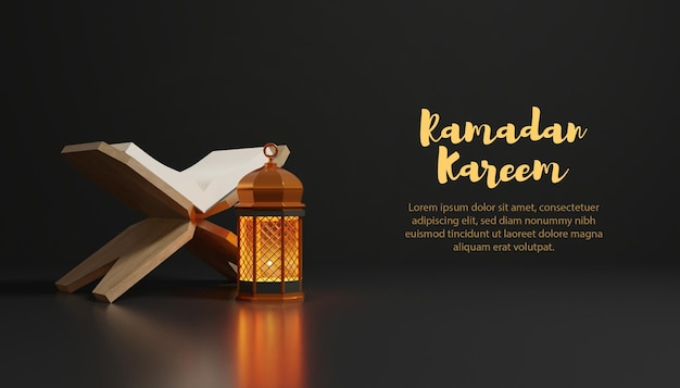 Sfondo di ramadan kareem con lampada dorata e testo