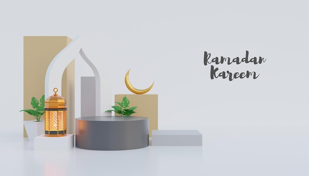 Sfondo di ramadan kareem con podio