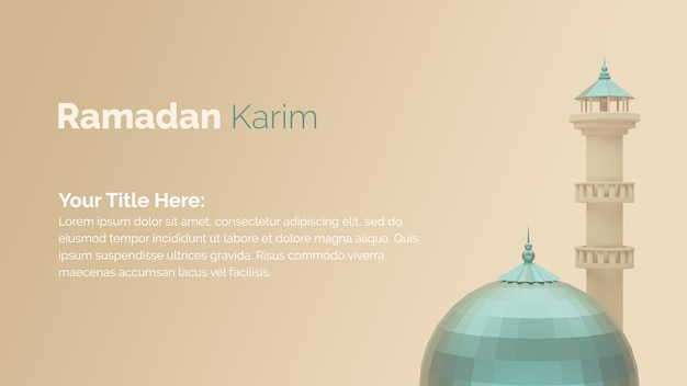 Ramadan kareem design rendering 3d