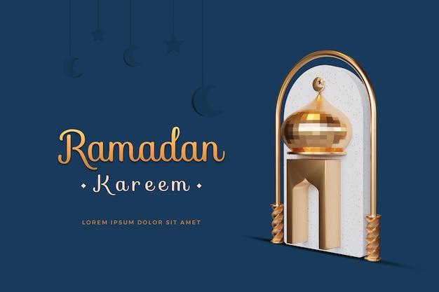 Ramadan kareem design con mockup di rendering 3d