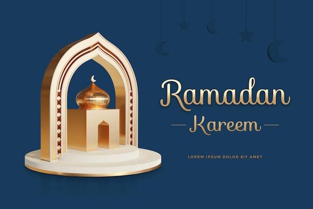 Ramadan kareem design con modello di rendering 3d