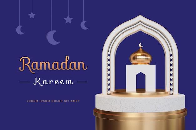 Ramadan kareem design con modello di rendering 3d Psd Premium