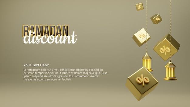 Manifesto di sconto di ramadan kareem con rendering 3d per cento