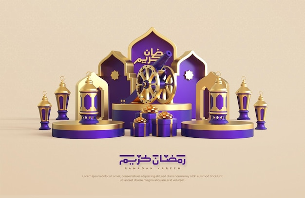 Fondo di saluto del kareem di ramadan con elementi decorativi festivi islamici realistici 3d