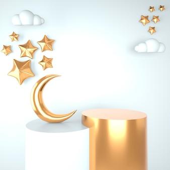 Modello di saluto di ramadan kareem con disegno della luna