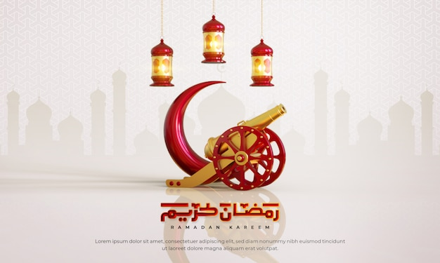 Ramadan kareem islamico saluto sfondo con mezzaluna, cannone, lanterna e motivo arabo e calligrafia
