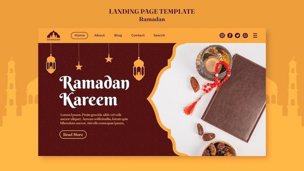 Modello di pagina di destinazione ramadan kareem