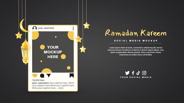 Tema della religione musulmana del ramadan kareem con post sui social media di instagram