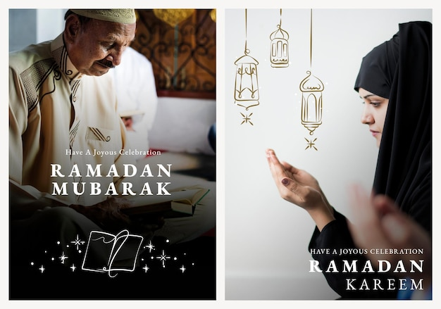 Modello di poster di ramadan kareem psd con set di auguri