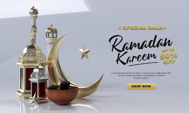 Ramadan kareem realistico semplice rendering 3d per la celebrazione e la promozione