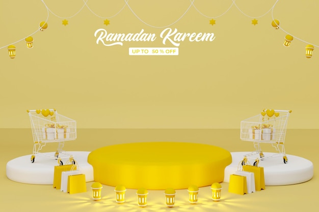 Ramadan kareem vendita 3d rendering banner sfondo