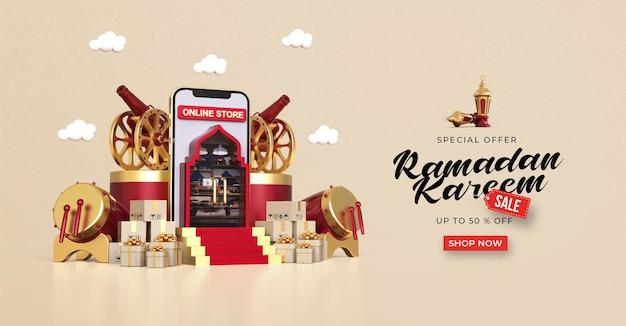 Modello di banner di vendita di ramadan kareem con acquisti online 3d su applicazioni mobili