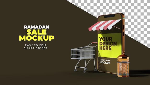Mockup di smartphone ramadan kareem