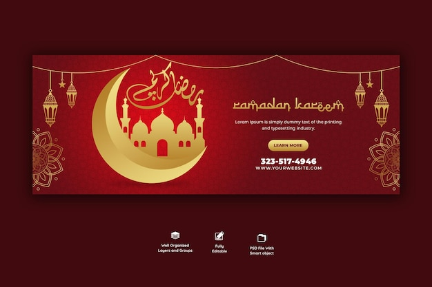 Ramadan kareem tradizionale festival islamico copertina facebook religiosa