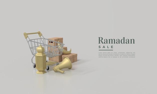 Rendering 3d di vendita di ramadan con illustrazione di cesti di lampade e altoparlanti