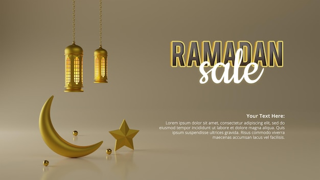 Modello dell'annuncio del fondo di vendita del ramadan nella rappresentazione 3d