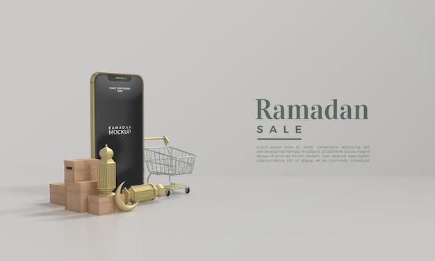 Mockup di vendita di ramadan con supporto per smartphone