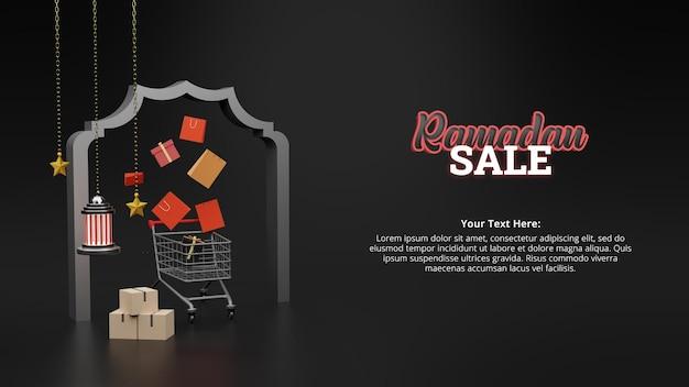 Manifesto di vendita di ramadan con concetto 3d
