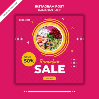 Banner di ramadan vendita social media post modello