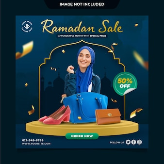 Modello di post sui social media di vendita di ramadan