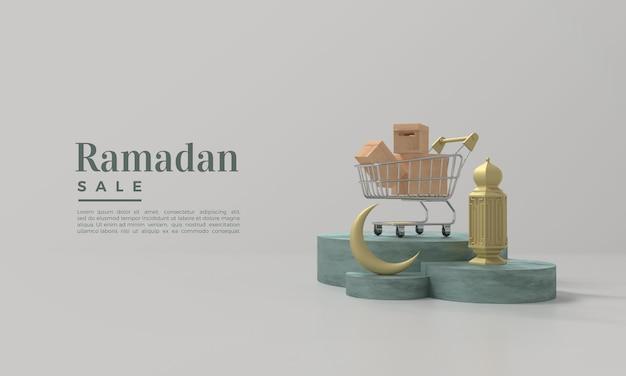 Vendita di ramadan con carrello illustrazioni lampada e podio rendering 3d