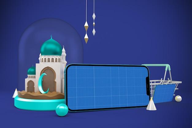 Mockup dell'app per lo shopping ramadan