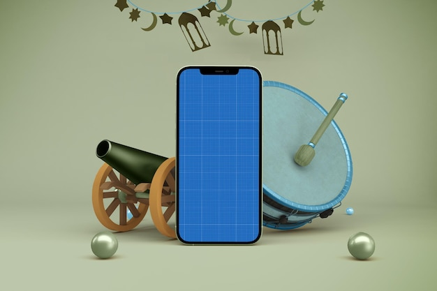 Mockup di ramadan smart phone
