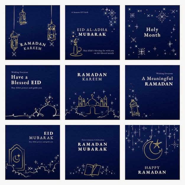 Ramadan social media template psd su sfondo blu