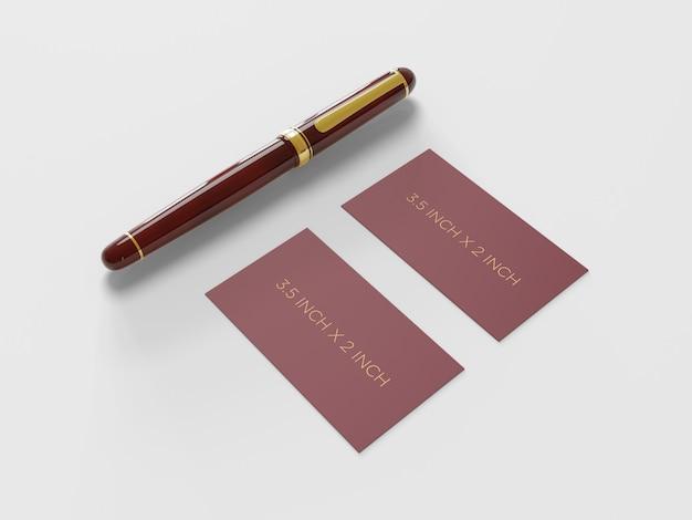 Modello pronto per l'uso del biglietto da visita con una vista di prospettiva della penna stilografica
