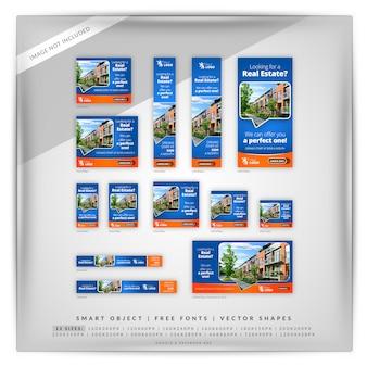 Set di banner google di proprietà immobiliari