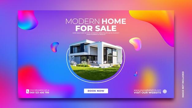 Modello di social media per banner di promozione di vendita di case immobiliari
