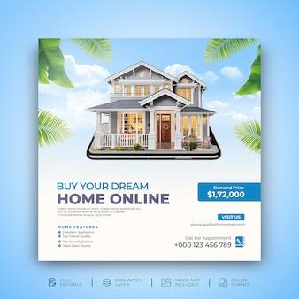 Le proprietà della casa immobiliare acquistano il modello di post sui social media di promozione online