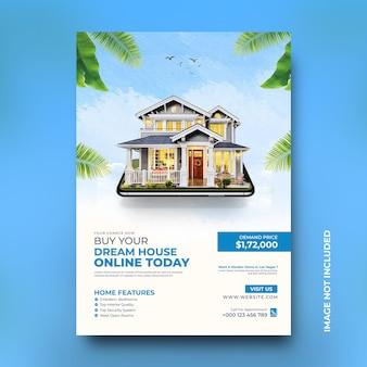 Le proprietà delle case immobiliari vendono il modello di post sui social media per la promozione di poster