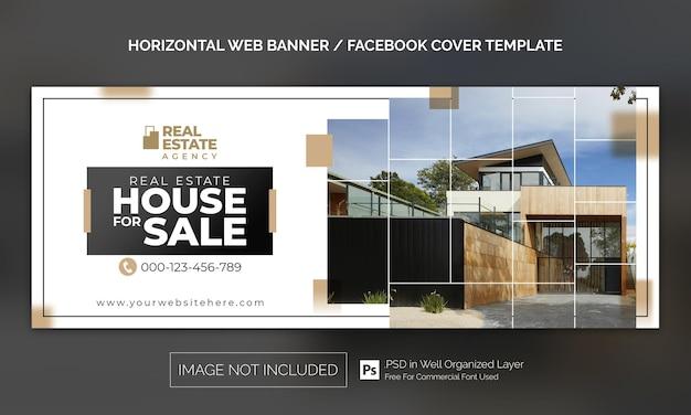 Banner orizzontale per proprietà immobiliari o modello pubblicitario per la copertina di facebook