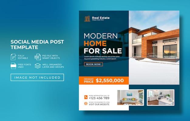 Modello pubblicitario per post di instagram o post sui social media di proprietà immobiliari psd premium