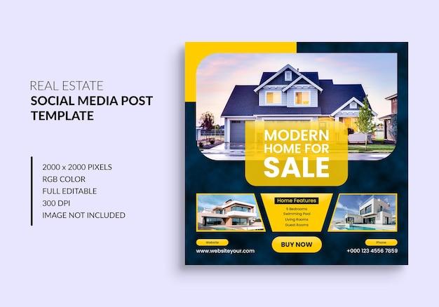 Post di instagram di proprietà della casa immobiliare o modello pubblicitario banner web quadrato