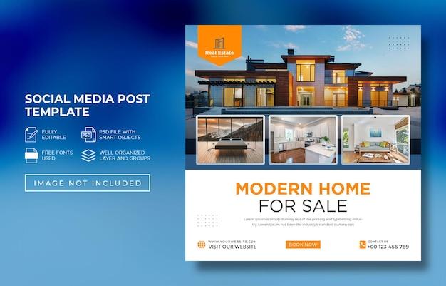 Modello di post di social media di proprietà della casa immobiliare psd premium