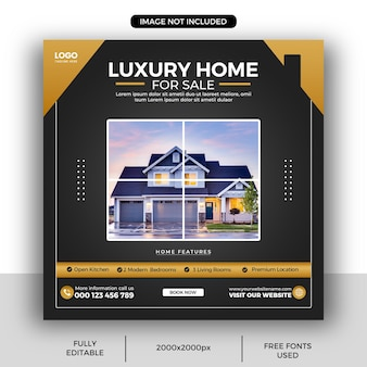 Modello di post sui social media della proprietà della casa immobiliare o banner web quadrato