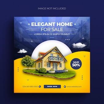 Volantino per banner web di proprietà di proprietà immobiliari per social media e modello di post su instagram